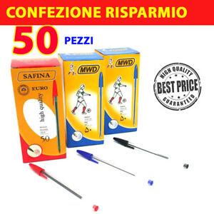 CONFEZIONE-50-PEZZI-PENNE-PENNA-INCHIOSTRO-A-SFERA-BLU-ROSSE-NERE-SCUOLA-UFFICIO