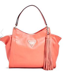 Nwt GUESS $128 Thompson Satchel Handbag Purse Large Coral w ...