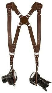 Coiro-Dual-Leather-Camera-Harness-Padded-Shoulder-Adjustable-Strap-Brown-Quick