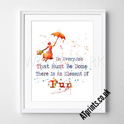 Mary Poppins Print Poster Watercolour Framed Canvas Wall Art Disney Quote Gift