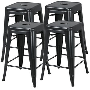 Fine Details About 24 Metal Bar Stools Counter Height Kitchen Set Of 4 Stackable Stackable Black Ibusinesslaw Wood Chair Design Ideas Ibusinesslaworg