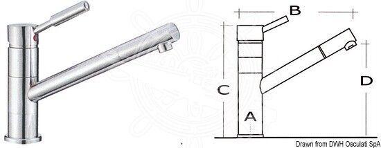 Osculati Diana Diana Diana swenkbarer Mischbatterie Messing verchromt 589a48
