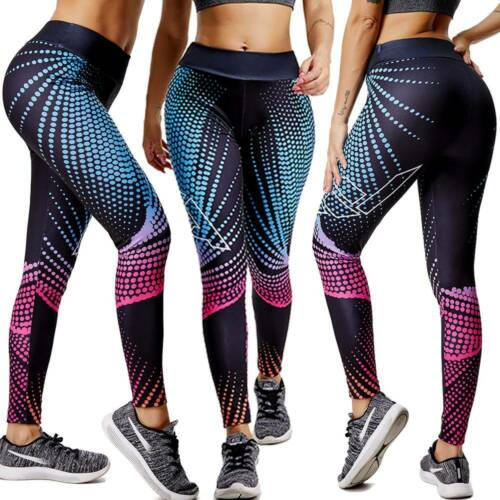 Women High Waisted Yoga Pants Leggings 3D Print Sports Fitness Stretch Trousers