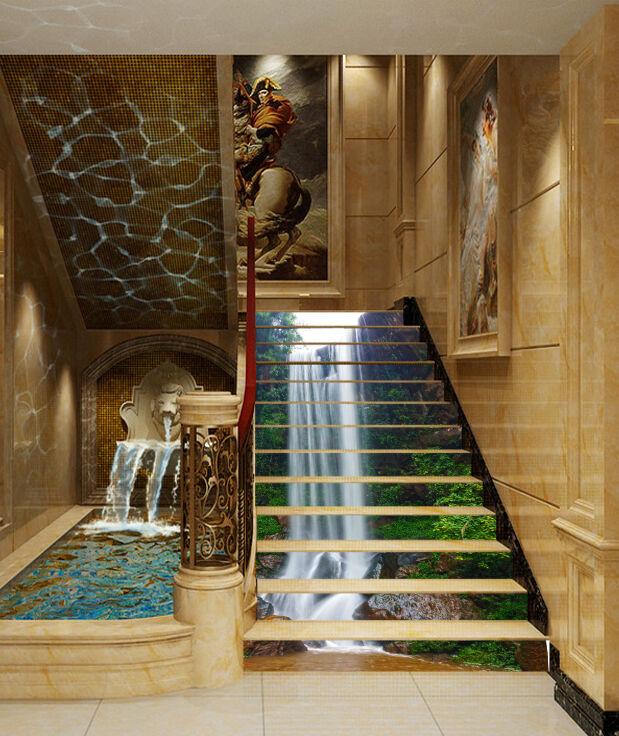 3D Stone waterfall2 Stair Risers Decoration Photo Mural Vinyl Decal Wallpaper AU