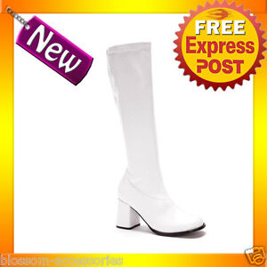 2a65044c7e6 S4 Ladies Go Go Gogo White Knee High Adult Womens Boots Shoes 60 S ...