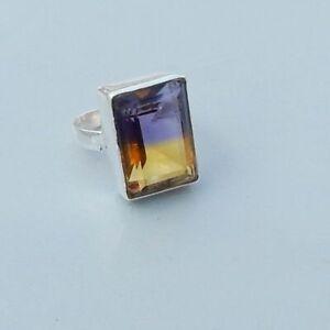 Purple-Yellow-Ametrine-Quartz-925-Sterling-Silver-Artisan-Handmade-Gift-Ring