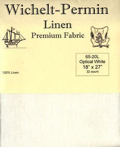 Wichelt-Permin-PREMIUM-LINEN-FABRIC-32-Count-Cross-Stitch-18-x-27-OPTICAL-WHITE