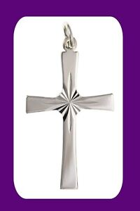 Cross Pendant Diamond Cut Sterling Silver