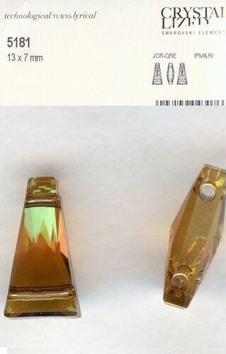 5181 13 CO *** 4 BARRETTES SWAROVSKI double perçage 13x7mm CRYSTAL COPPER