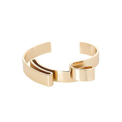 NEW Wayne Cooper WCGEW17BG18 Sculptural Metal Ribbon Cuff Bangle Gold