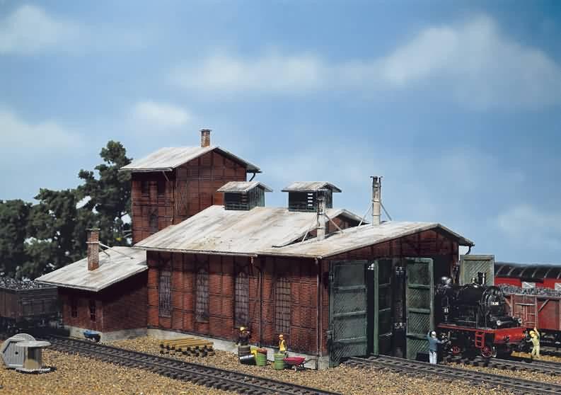 Faller 120161 Rimessa per Locomotive 2-ständig Nuovo Conf. Orig.