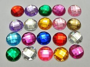 200-Mixed-Color-Acrylic-Flatback-Rhinestone-Faceted-Round-Gems-12mm-No-Hole
