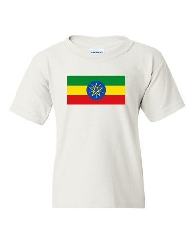 Ethiopia Country Flag Horn Of Africa Nation Patriotic DT Youth Kids T-Shirt Tee