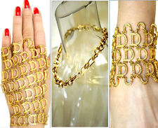 John Galliano Christian Dior Gold Tone Crystal Decorated Bracelets Necklace Set