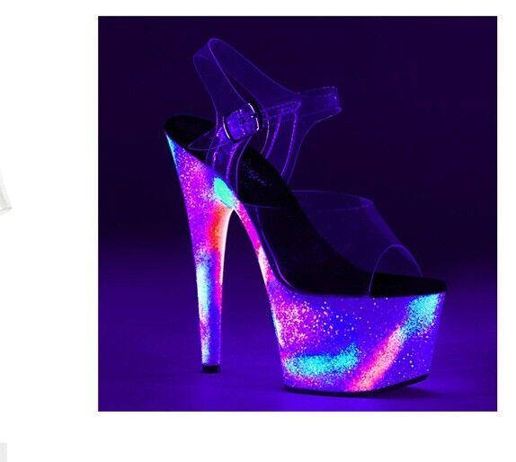 7    Rainbow Glow in the Dark Neon 90s Candy Raver Platform schuhe Stripper Heels 52cc3c