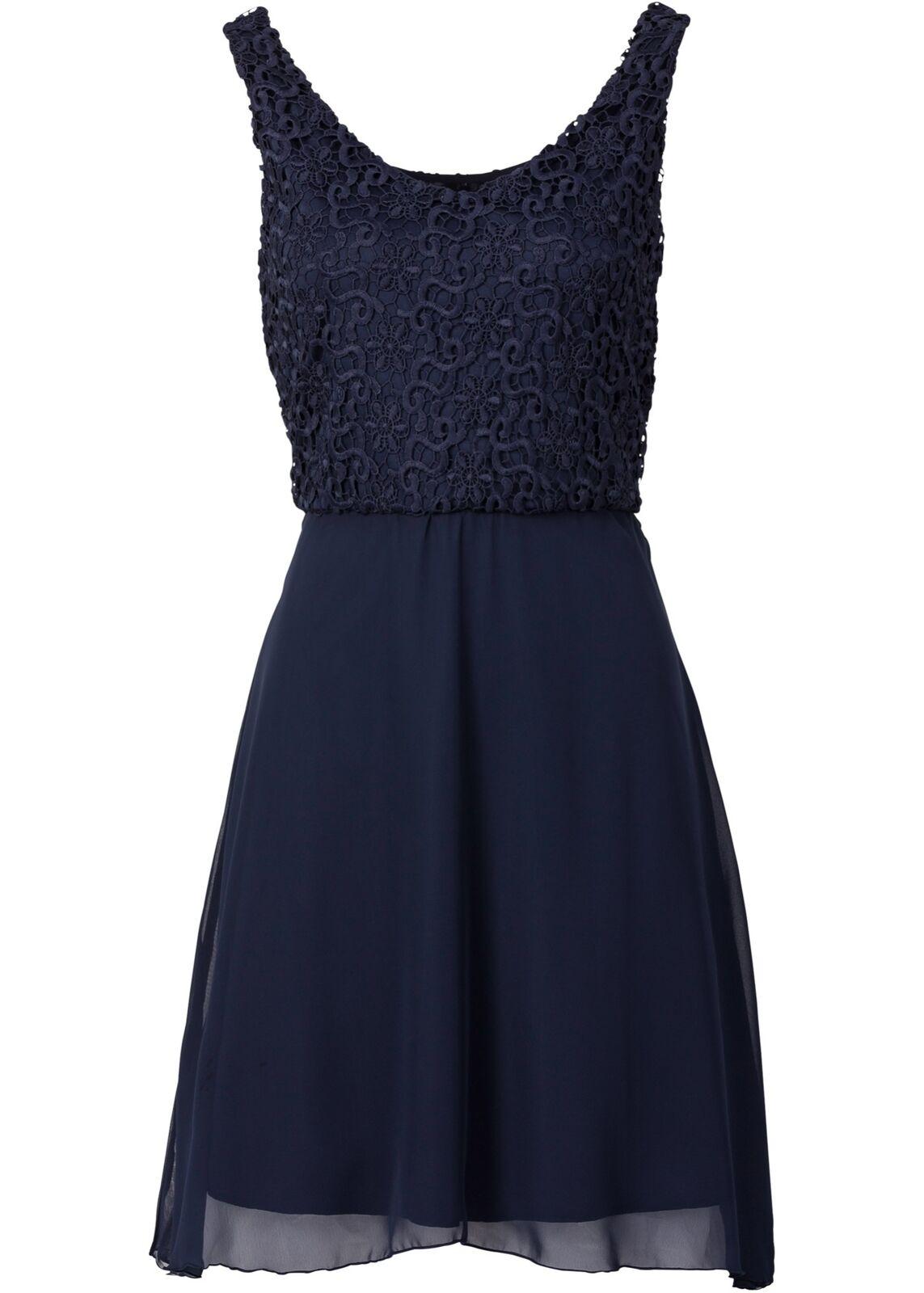 Kleid Gr. 38 Dunkelblau Damen Minikleid Partykleid Abendkleid Cocktailkleid Neu