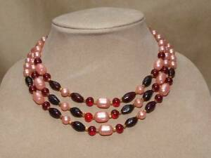 N-1-6 Japan Pink and Gold Lucite and Clear Crystal 3-Strand Multi-Strand Vintage Necklace
