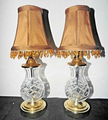 "Lamps A Pair 16""h Fancy Cut Glass & Brass Vanity Lamps W/fabric Teardrop Shades With Traditional Methods Lamps: Electric Collectibles"