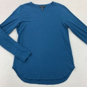 Eileen-Fisher-Womens-T-Shirt-Blue-Long-Sleeves-Crew-Neck-Stretch-Tee-XS