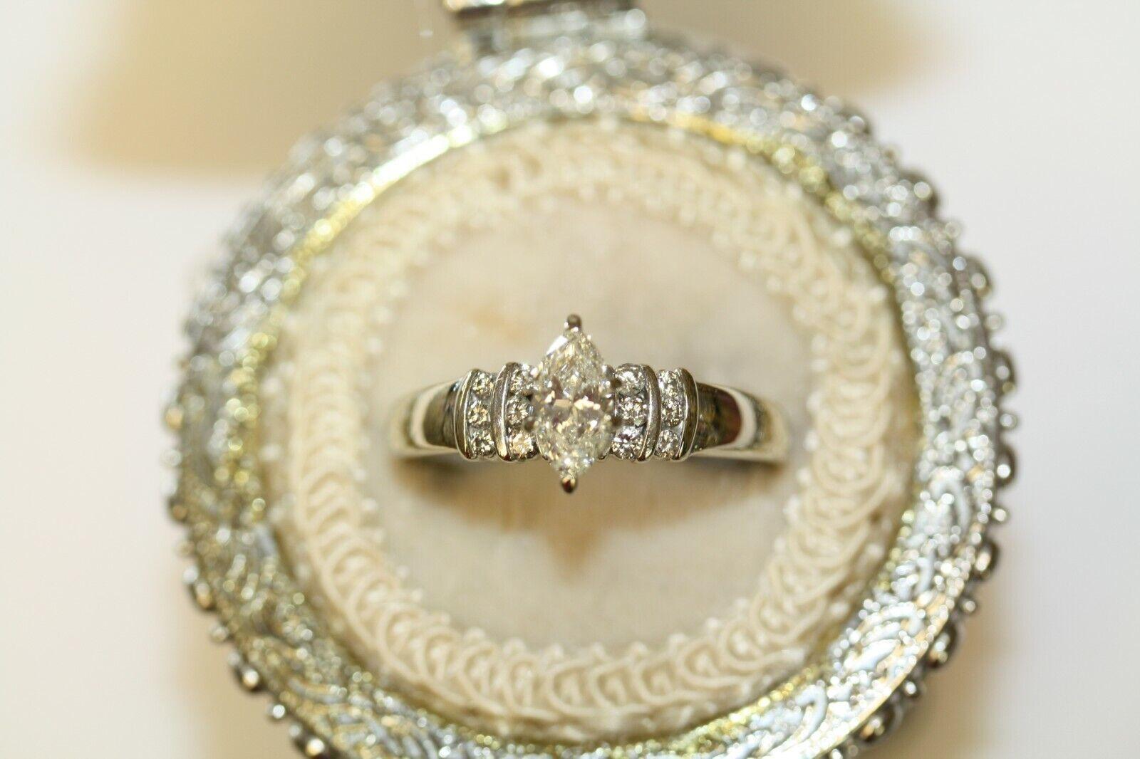14k White gold Marquise Diamond Engagement Diamond  Size 12 1 2