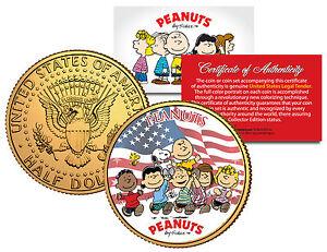 PEANUTS-Americana-CHARLIE-BROWN-amp-Snoopy-JFK-Half-Dollar-US-Coin-24K-Gold-Plated