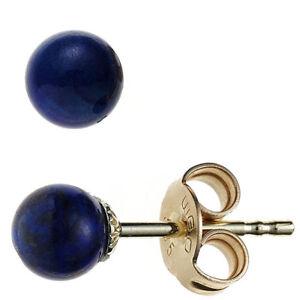 JOBO-Ohrstecker-Kugel-585-Gold-Gelbgold-2-Lapislazuli-blau-Ohrringe-Goldohrsteck