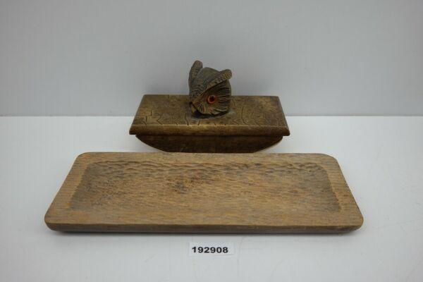 Alt Tintenlöscher Mit Holz Figur Eule Uhu Glasaugen Schnitzerei +ablage#192908