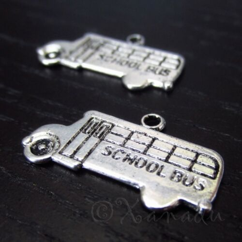 School Bus 23mm Wholesale Antiqued Silver Plated Charms C4440-10 20 Or 50PCs