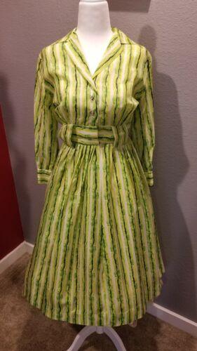 Vintage Aldens 50s 60s Shirt Dress Green Stripped
