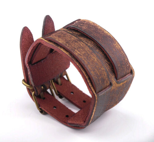 BL02 Brown Cool Double Band Leather Bracelet Bangle Wristband Men/'s Cuff