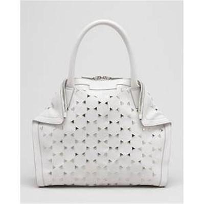 Alexander Mcqueen White Leather Triangle Studded De Manta Demanta Tote Bag $1595