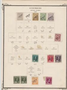 luxembourg stamps on 2 album page ref 13443