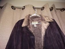 EDDIE BAUER womens petite XL brown leather suede jacket PERFECT must see lined