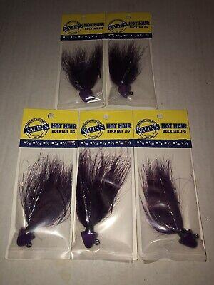 Lot of 5 Brand New Kalin/'s Hot Hair Bucktail Jig 1//2 ounce Purple//Chartreuse