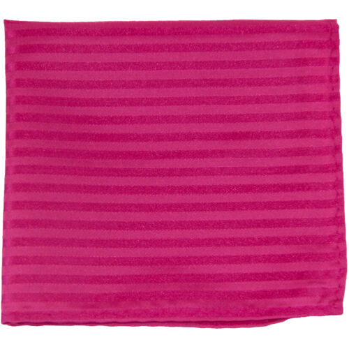 New men/'s polyester woven tone on tone stripes hot pink hankie pocket square