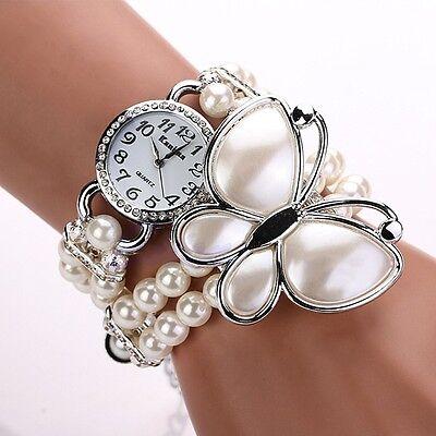 Women Ladies Faux Pearl Bead Crystal Butterfly Bracelet Chain Quartz Wrist Watch