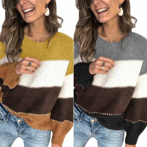 Ladies Crew Neck Long Sleeve Sweater Striped Casual Jumper Pullover Tops Winter