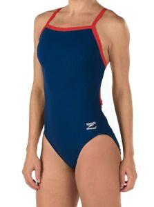 Speedo-Womens-Swimwear-Red-Blue-Size-30-Endurance-Flyback-Swimsuit-69-967