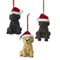 Labrador Retrievers W/santa Hat Ornament