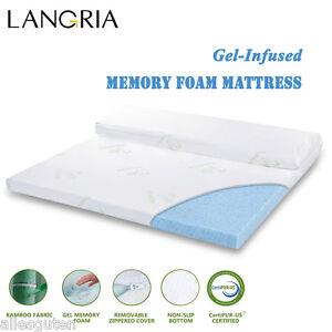 2 3 gel infused memory foam mattress topper w cover twin full queen king size ebay. Black Bedroom Furniture Sets. Home Design Ideas