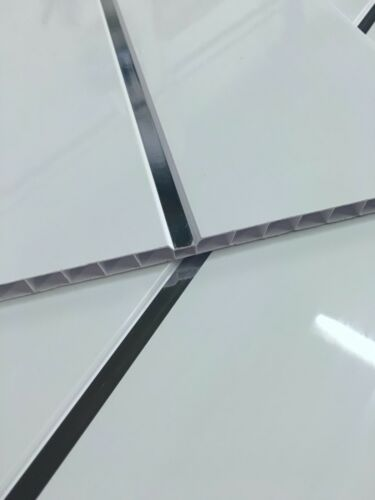 Gloss White Platinum White Sparkle Chrome 8mm Ceiling Cladding Shower Wall PVC