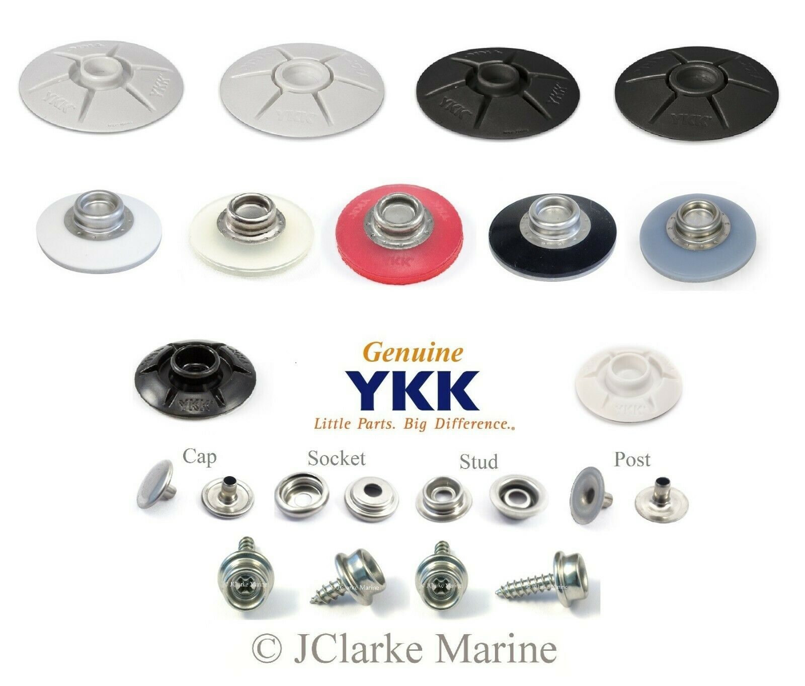YKK Snad snap fastener self adhesive 40mm & 25mm domed base stud canvas canopy