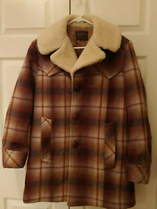 VTG-Pendleton-Plaid-Sherpa-Wool-Coat-Quilted-Lining-Western-Coat-No-Size-Tag