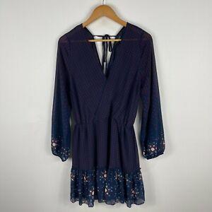 Glassons-Womens-Dress-12-Blue-Floral-Long-Sleeve-V-Neck-Tie-Closure-Sheer