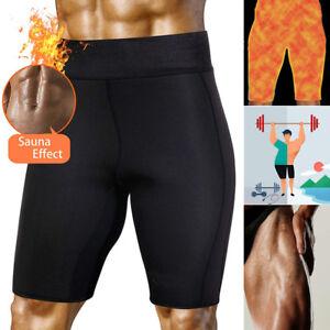 US Men Gym Slim Shorts Thermo Neoprene Sweat Sauna Body Shaper Pants Weight Loss