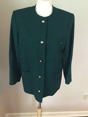 Vintage AVOCA Collection 100% Wool Blazer Jacket Green Made In Ireland Sz M EUC