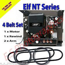 ELF NT Series 16mm CINE PROIETTORE 4 Set Cinghia di trasmissione (motore, riavvolgi & entrambe le braccia)