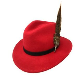 aceef0b8396 Image is loading Taynton-Red-Fedora-Hat-with-Pheasant-Feather-Brooch