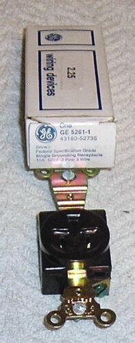 GE 5261-1 BROWN RECEPTACLE NEMA5-15R 15A 125V 2 POL 3 WIRE NOS