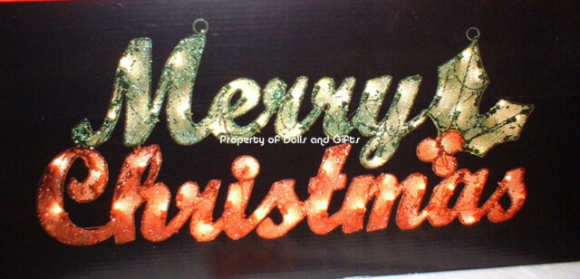 large lighted merry christmas sign w holly berries outdoor decor lights